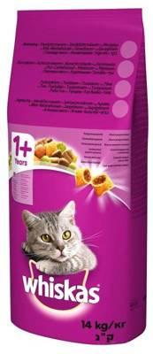 WHISKAS Adult 14kg - sausas kačių ėdalas su jautiena ir daržovėmis + 2x DREAMIES 15g