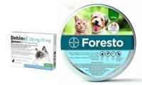 BAYER Foresto Antkaklis katėms ir šunims sveriantiems mažiau nei 8kg + Dehinel 230 mg/20 mg 1tab.nuo kirmėlių