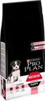 Purina Pro Plan Medium Puppy Sensitive Optiderma, lašiša ir ryžiai 12kg