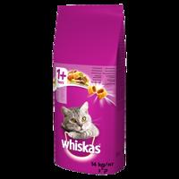 WHISKAS Adult 14kg - sausas ėdalas katėms su ėriena + 2x DREAMIES 15g